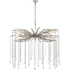 "Willow 36"" wide chandelier with clear crystal (Available in gold or silver)"