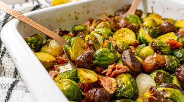 Brussel Sprouts, Pancetta & Chestnut Tray Bake / Low Carb Christmas Recipe