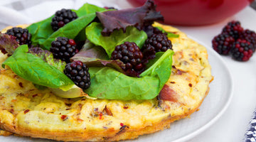 Primal Cauliflower and Bacon Omelette with Blackberry Salad
