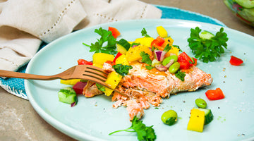 Summer Salmon With A Mango Salad Salsa / Low Carb Recipe