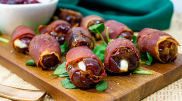 Prosciutto Wrapped Dates Stuffed With Goats Cheese