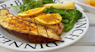 Crispy Glazed Orange Salmon With Sticky Aubergine
