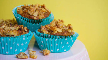 Crunchy Walnut Topped Carrot Cake Muffins