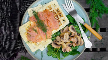 Garlic Mushrooms and Smoked Salmon Topped Waffles