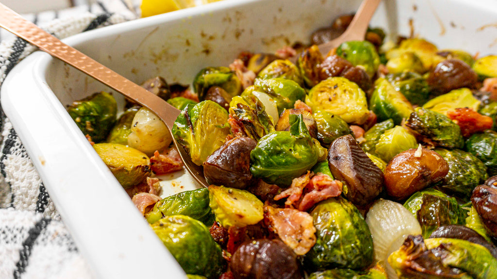 Crispy and golden brussel sprouts served with pancetta and chestnuts