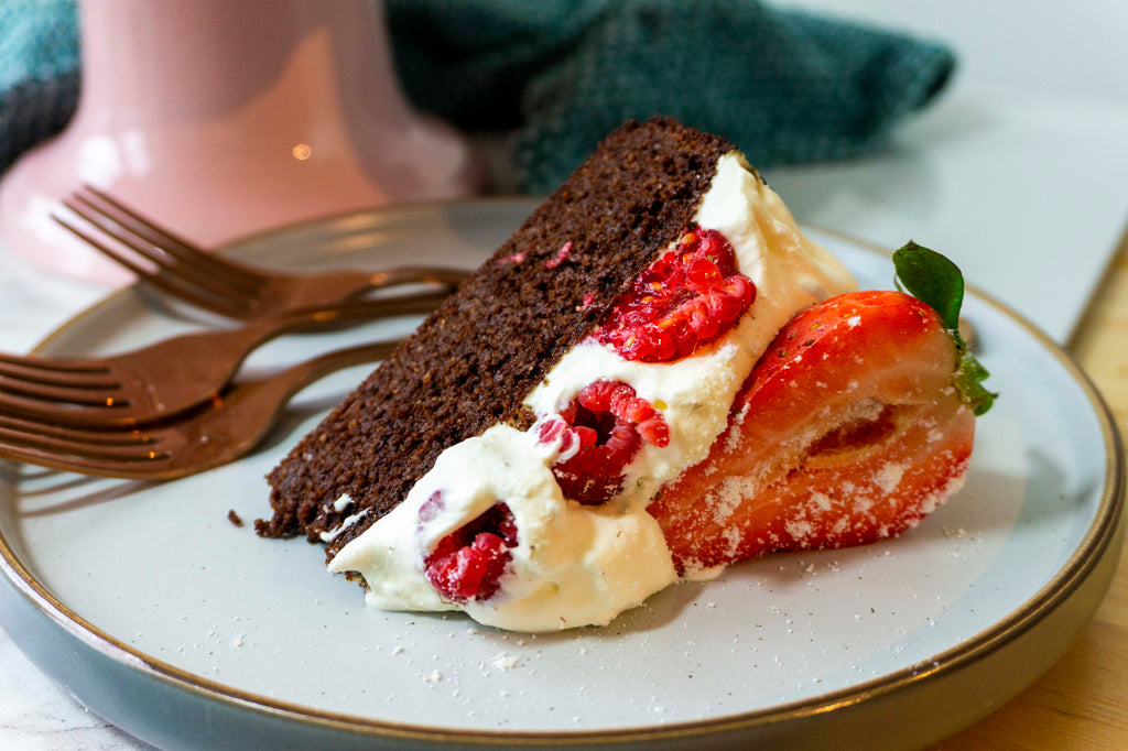 A slice of our Primal low carb chocolate cake