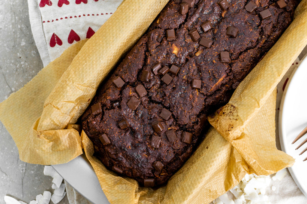 Healthy low carb chocolate chip courgette bread Birdseye view