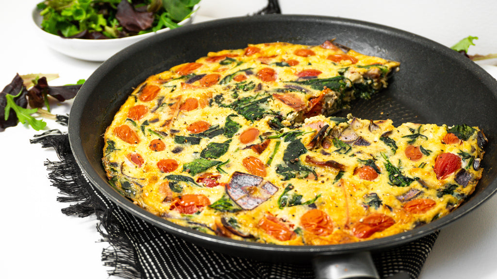 Overview of an easy Keto bacon and spinach frittata