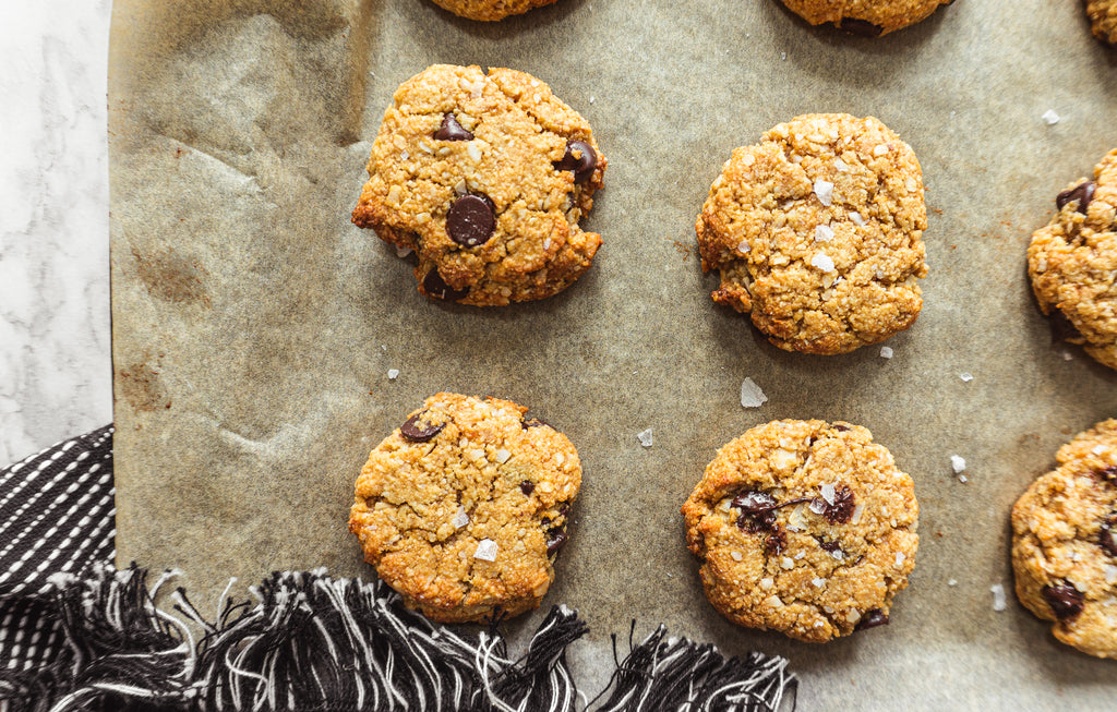 Healthy chocolate chip coconut cookies fresh out the oven