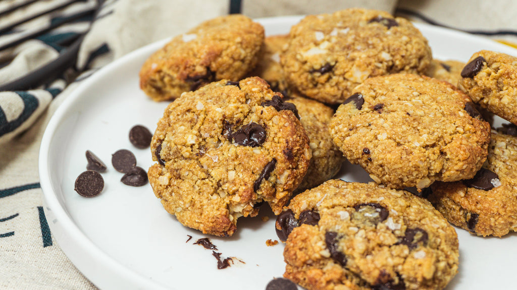 Healthy chocolate chip coconut cookies on a plate