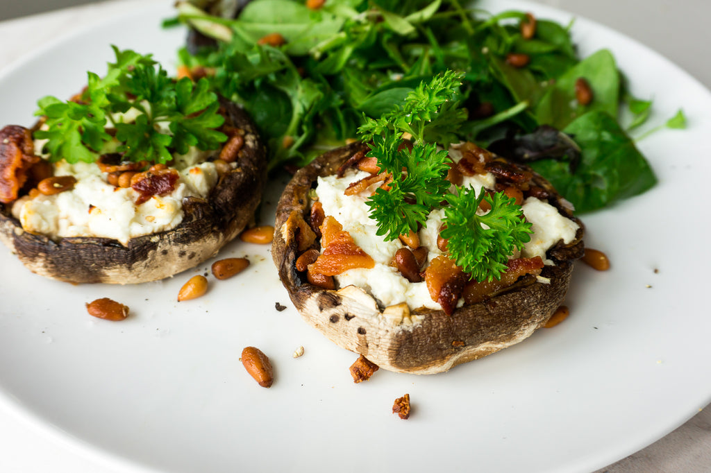 Goats cheese and pine nuts stuffed mushrooms