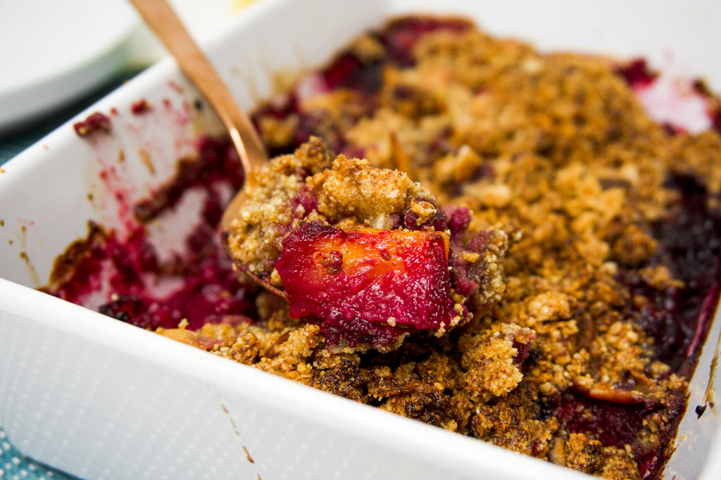 Close up of pineapple and blackberry crumble