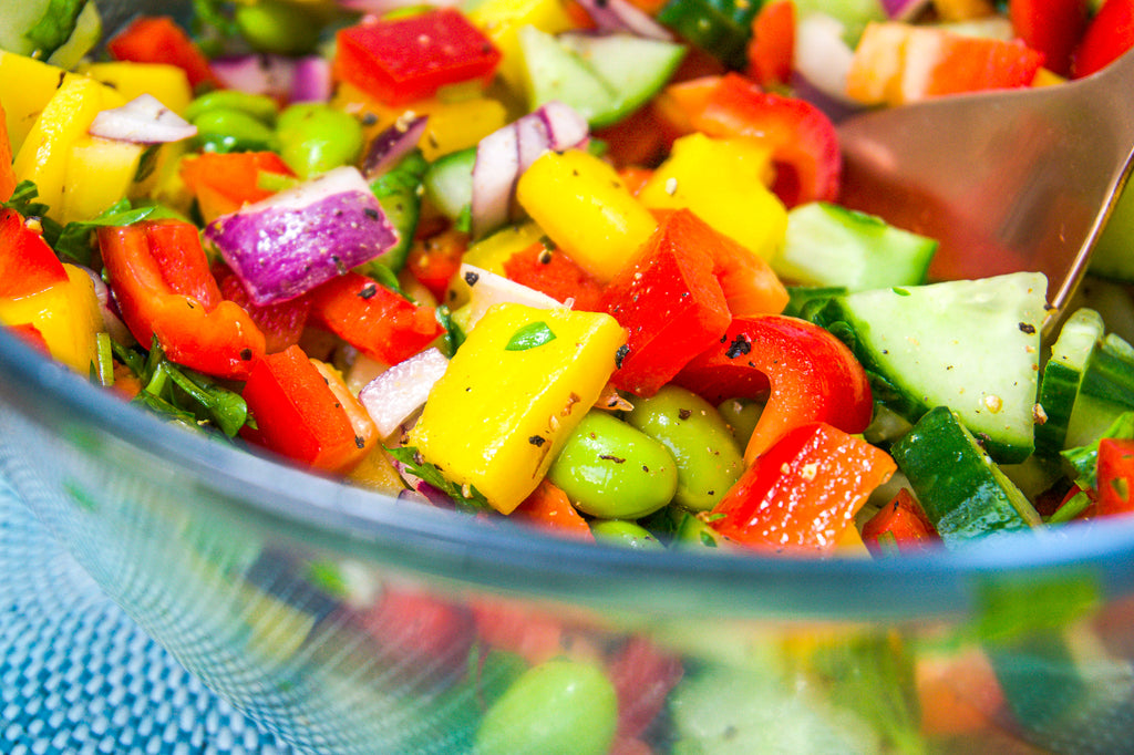 mango salad salsa close up