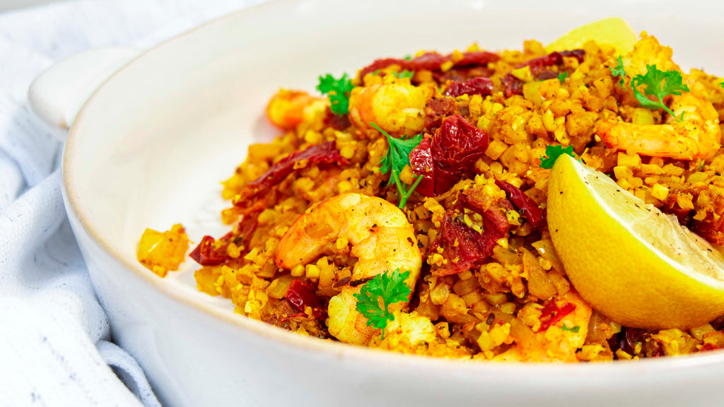 Persian styled prawn dish with sun-dried tomatoes and cauliflower rice