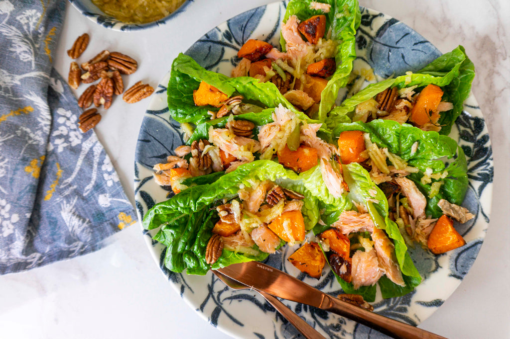 Smoked trout, pecan & butternut squash salad