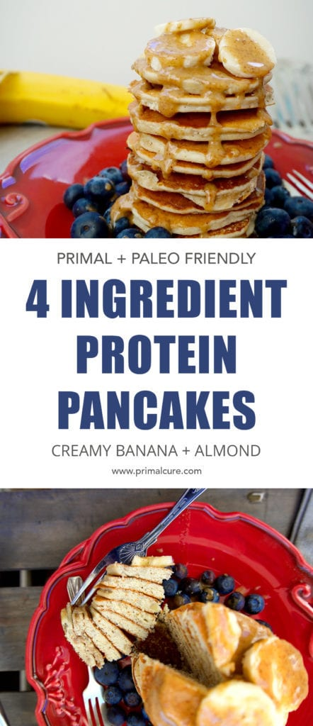 A low carb, primal and paleo friendly pancake recipe. Full of protein, healthy fats and free from sugar! These protein pancakes make the perfect post workout breakfast.