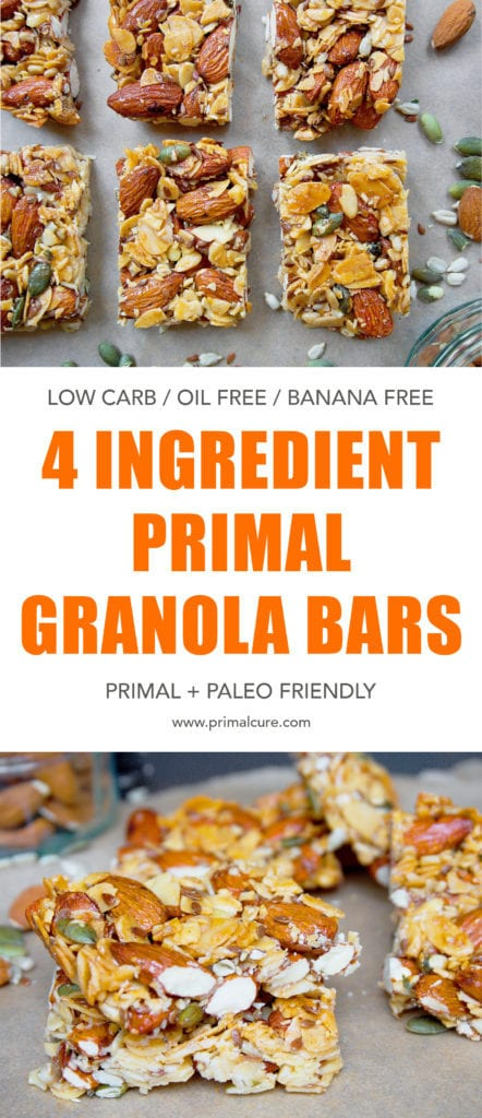 Nutty, crunchy and sticky. These make the perfect healthy primal granola bars. Give these a go for a quick and delicious snack that's paleo and primal friendly!