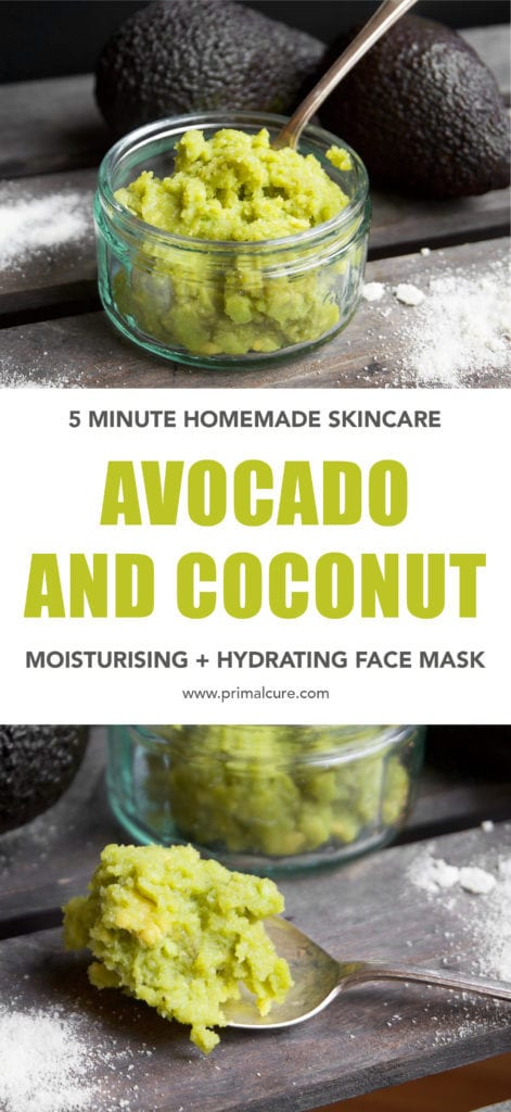 5 minute DIY homemade face mask made with 3 healthy ingredients that are nourishing, hydrating and moisturising! Primal and vegan friendly. Perfect for sensitive skin, too!