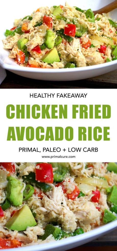 Healthy Chicken Fried Avocado Rice. A takeaway twist on the classic Chinese dish, egg fried rice. This recipe is paleo, primal and low carb. All the goodness with the same amount of taste!