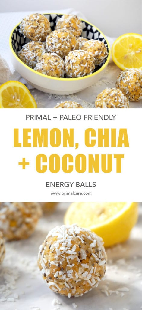 These lemon, chia and coconut energy balls make for the perfect primal, paleo and ketogenic friendly snack. They're full of healthy fats and contain no carbs or sugars! All natural and 100% healthy. Click for the 5 minute recipe!