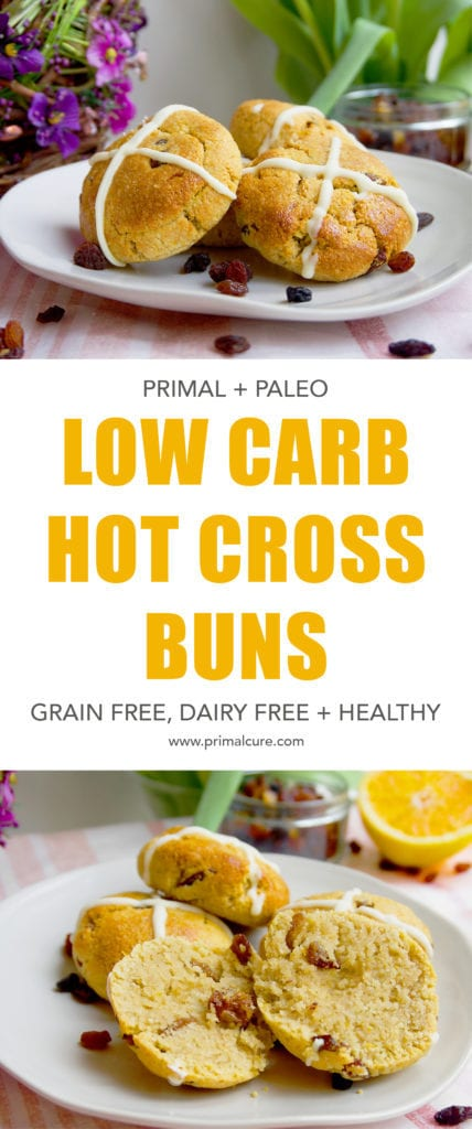 A Primal/Paleo take on the classic Easter hot cross bun recipe. This recipe is low carb, dairy free, grain free and is also free from refined sugar. Moist, full of easter spice and deliciously soft! The perfect healthy Easter recipe.