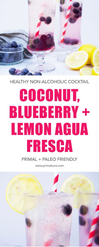 Enjoy summer this year with a Primal and Paleo friendly non-alcoholic cocktail. My coconut, blueberry and lemon agua Fresca is refreshing, light and packed with health benefiting ingredients. It's all refined sugar free!