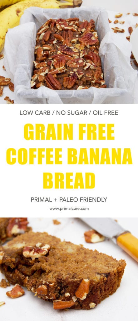To celebrate national coffee week I've whipped up a delicious primal and paleo friendly coffee banana bread. It's moist, light, sweet and contains all natural and healthy ingredients. This recipe is grain free, refined sugar free, oil free and low carb compared to the classic banana bread.