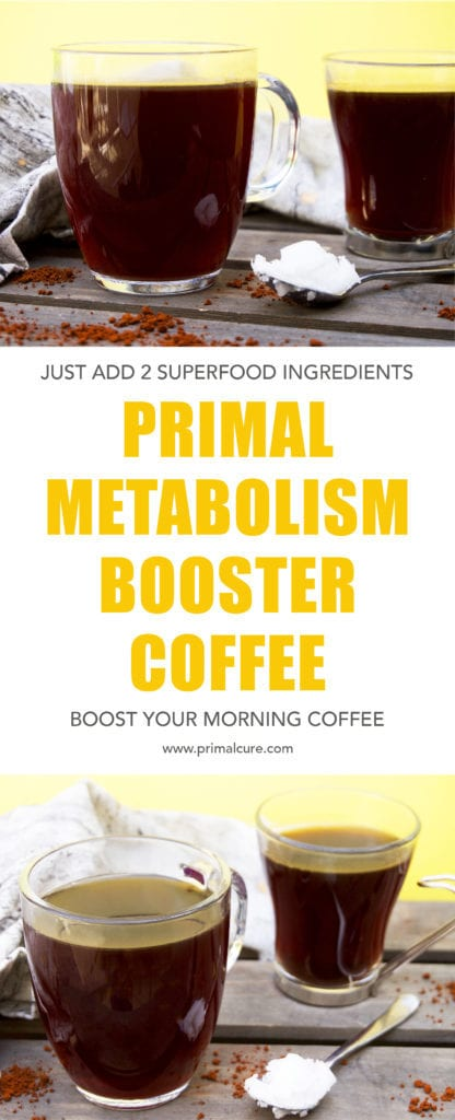 Add an extra boost to your morning cup of organic coffee using just two Primal and Paleo friendly superfood ingredients! A simple and quick drink recipe that's healthy and packed with so much goodness!