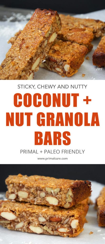 These bars are primal and paleo friendly, contain no CARB's or processed ingredients and are full of healthy and essential healthy fats. A quick and delicious snack recipe that can be made in under 35 minutes! These bars contain coconut, nuts and raw honey.