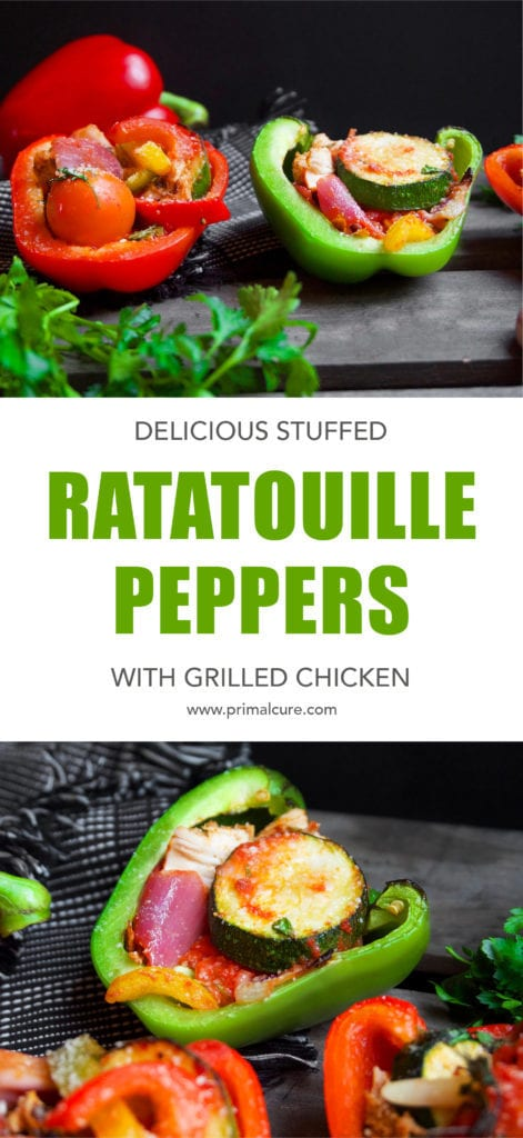 Try these stuffed ratatouille peppers with grilled chicken for a low carb, low calorie and high protein meal. Primal, keto and paleo friendly!