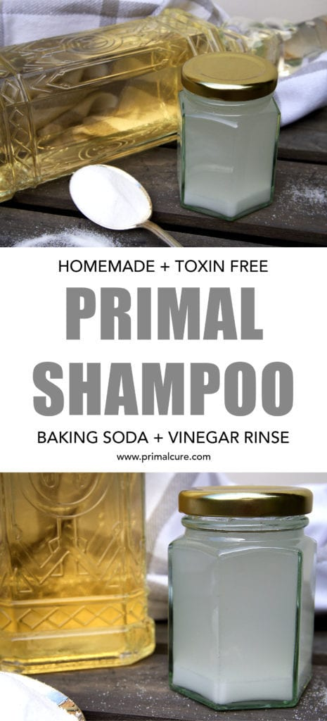 Primal baking soda shampoo. A toxin free, all natural shampoo recipe that's primal and paleo friendly and incredibly easy to make!