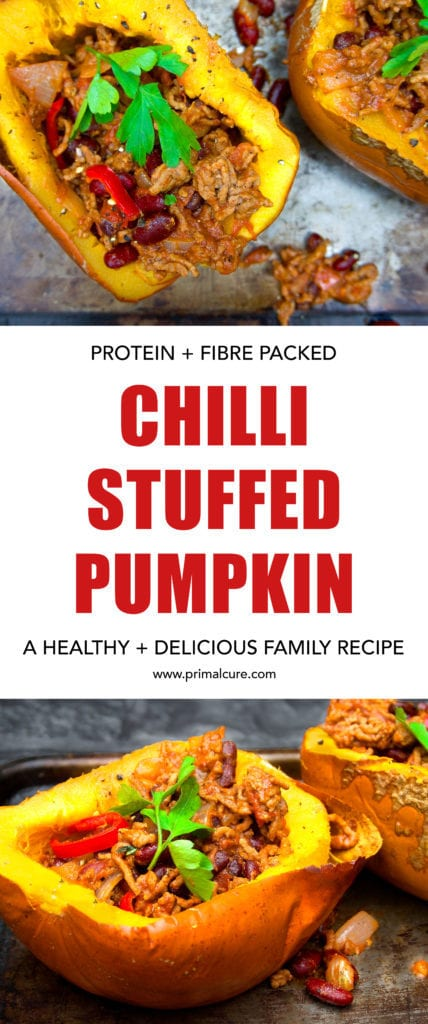 Chilli stuffed pumpkin. A delicious primal recipe packed with protein, fibre and essential vitamins and minerals. A unique twist on the classic Mexican recipe with a roasted pumpkin for added fibre and health benefits! Go check out Primal Cure's primal and paleo friendly recipe.