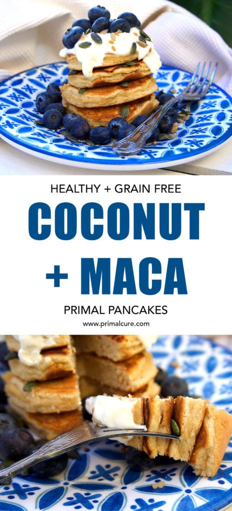 Coconut and Maca Primal Pancakes. A grain free, low carb and primal/paleo friendly recipe that's full of some amazing superfoods! The perfect healthy breakfast option.