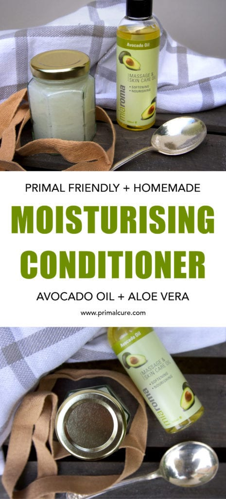 Primal moisturising conditioner. A homemade, organic and primal and paleo friendly conditioner. Quick and easy to make and totally nourishing and toxin free for your hair. Give it a go!