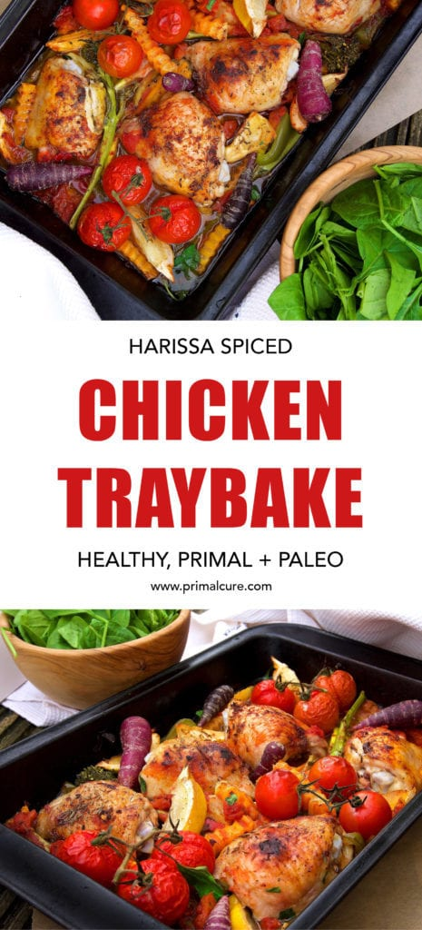 Harissa spiced chicken traybake. A simple recipe that's quick to make and boasts flavour from the spiced Harissa to the juice from the vegetables. Plus, this recipe is low carb, primal and paleo friendly. A perfect healthy evening meal for all the family!
