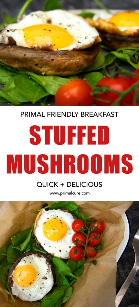 Breakfast stuffed mushrooms. A delicious and quick, Primal friendly breakfast. This recipe is full of protein, superfoods, healthy fats and essential vitamins and minerals. It's paleo, primal and boasts a high fat and low carb recipe.