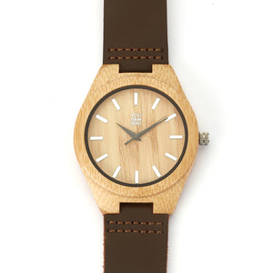 YouBamboo Watch with Leather Strap - Male