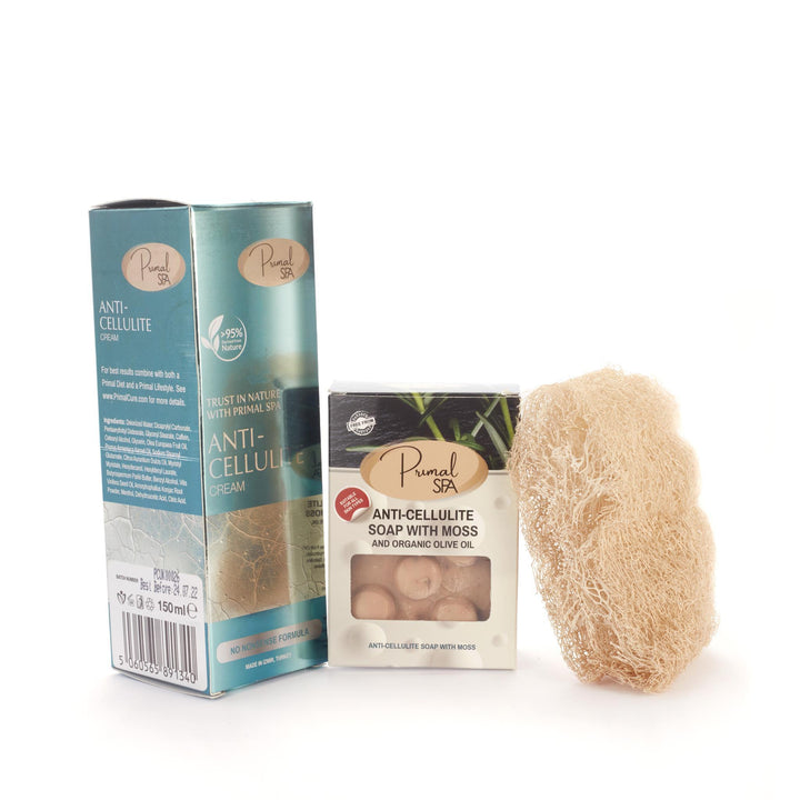 Anti-Cellulite Cream, Anti-Cellulite Soap With Moss And Pumpkin Fibre Loofah Sponge
