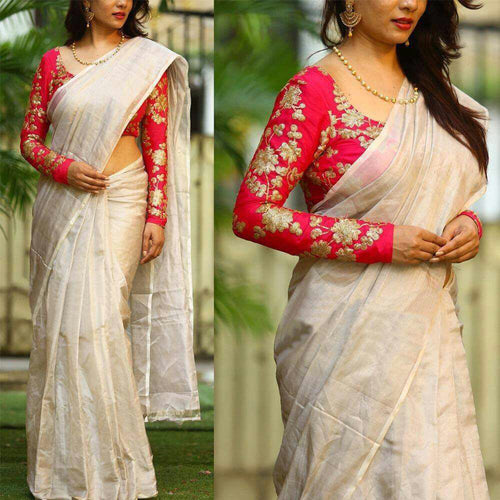 Pink and White Emrodidery Stitch Stone Work Banglori Silk Saree