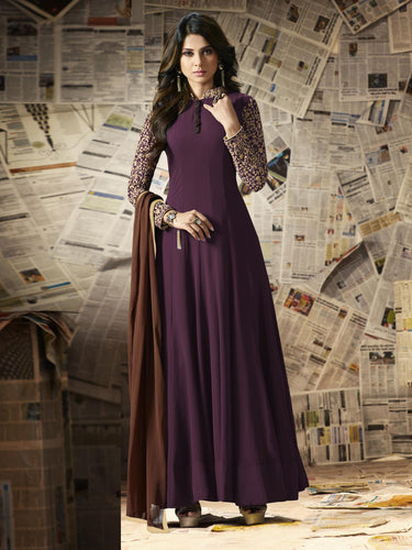 Maroon Georgette Embroidery Semi-stitched Anarkali Gown