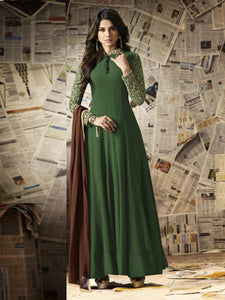 Green Georgette Embroidery Semi-stitched Anarkali Gown