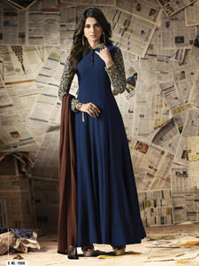 Blue Georgette Embroidery Semi-stitched Anarkali Gown