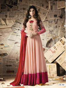 Light tich Georgette Embroidery Semi-stitched Anarkali Gown