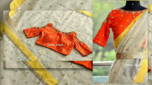 Orange and White Emrodidery Stitch Stone Work Banglori Silk Saree