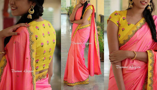 Yellow and Pink Emrodidery Stitch Stone Work Banglori Silk Saree