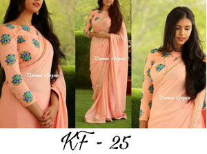 Peach Emrodidery Stitch Work Banglori Silk Saree