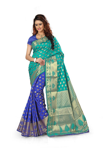 Jacquard SkyBlue And Blue Woman Saree