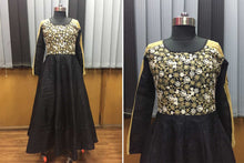 Load image into Gallery viewer, Party wear Embroidered Black Exclusive Gown For Girls
