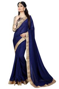 Chinon Blue Lace Work Women Saree