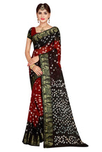 Load image into Gallery viewer, Womens Art Silk Black & Red Bandhej Bandhani Saree